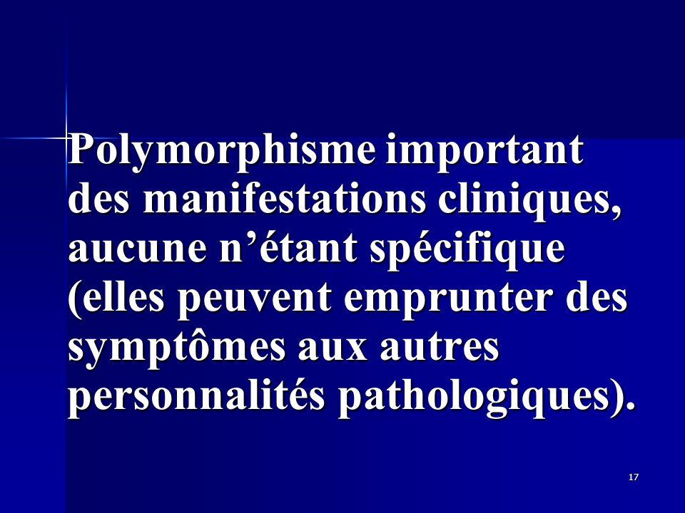17 Polymorphisme important des manifestations cliniques, aucune nétant spécifique (elles peuvent emprunter des symptômes aux autres personnalités path