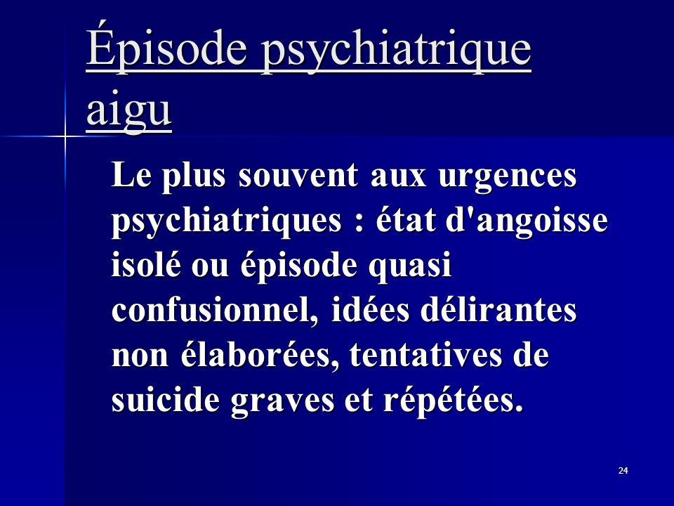 24 Épisode psychiatrique aigu Le plus souvent aux urgences psychiatriques : état d'angoisse isolé ou épisode quasi confusionnel, idées délirantes non