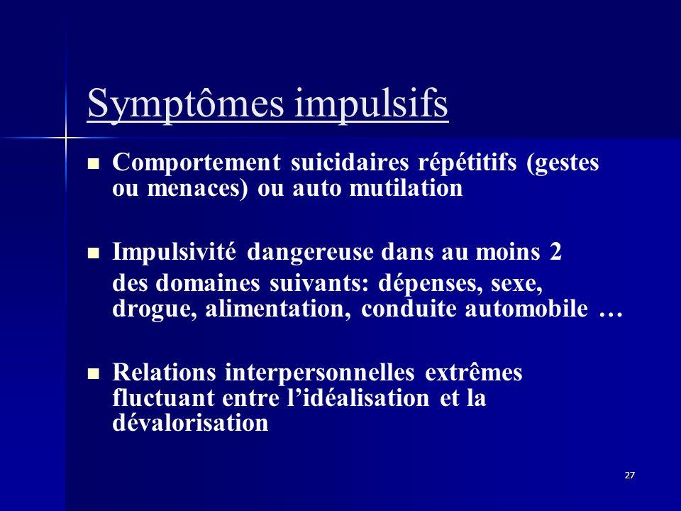 27 Symptômes impulsifs Comportement suicidaires répétitifs (gestes ou menaces) ou auto mutilation Impulsivité dangereuse dans au moins 2 des domaines
