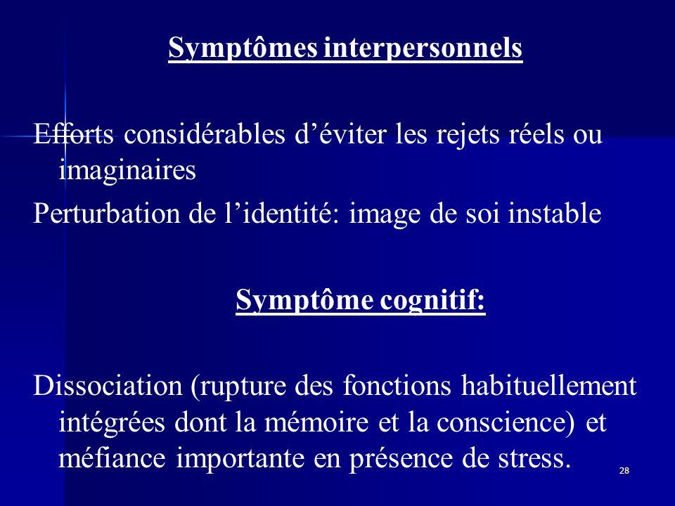 28 Symptômes interpersonnels Efforts considérables déviter les rejets réels ou imaginaires Perturbation de lidentité: image de soi instable Symptôme c