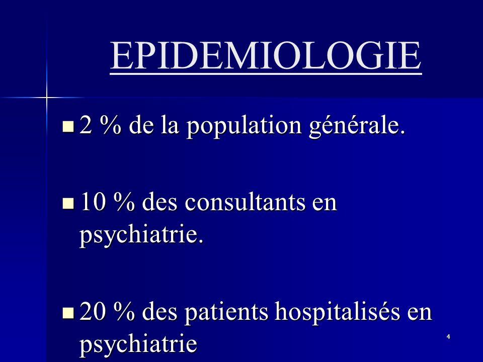 4 EPIDEMIOLOGIE 2 % de la population générale. 2 % de la population générale. 10 % des consultants en psychiatrie. 10 % des consultants en psychiatrie