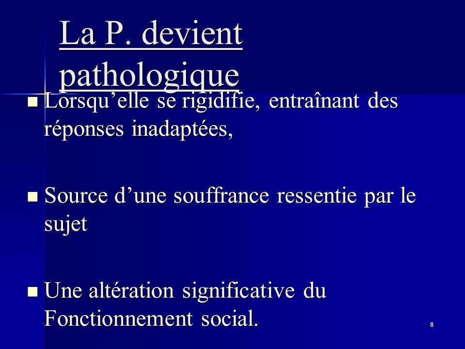 8 La P. devient pathologique Lorsquelle se rigidifie, entraînant des réponses inadaptées, Lorsquelle se rigidifie, entraînant des réponses inadaptées,