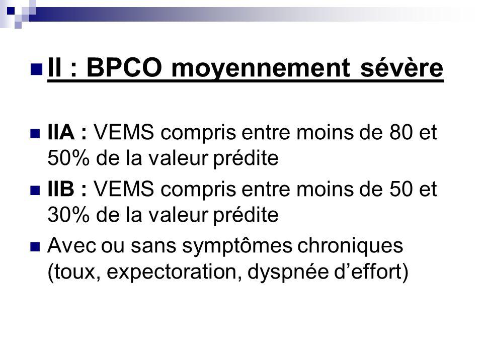 II : BPCO moyennement sévère IIA : VEMS compris entre moins de 80 et 50% de la valeur prédite IIB : VEMS compris entre moins de 50 et 30% de la valeur prédite Avec ou sans symptômes chroniques (toux, expectoration, dyspnée deffort)
