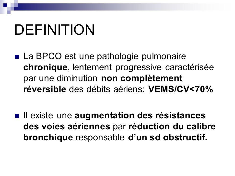 DEFINITION La BPCO est une pathologie pulmonaire chronique, lentement progressive caractérisée par une diminution non complètement réversible des débits aériens: VEMS/CV<70% Il existe une augmentation des résistances des voies aériennes par réduction du calibre bronchique responsable dun sd obstructif.