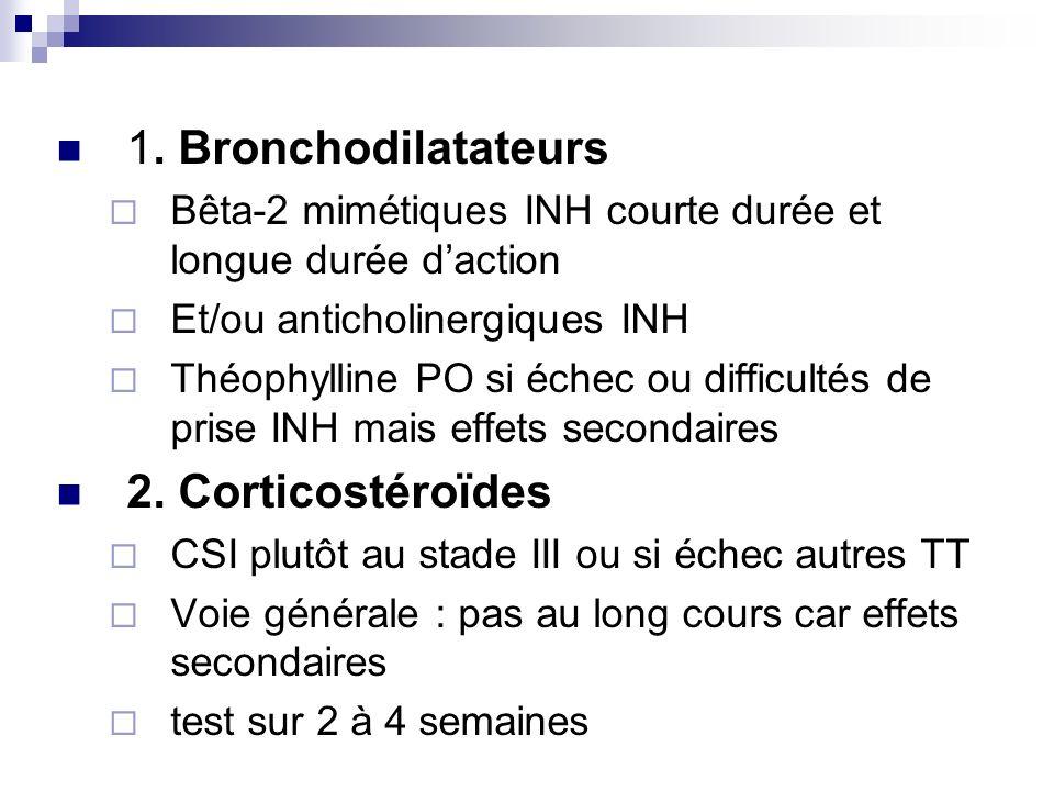 1. Bronchodilatateurs Bêta-2 mimétiques INH courte durée et longue durée daction Et/ou anticholinergiques INH Théophylline PO si échec ou difficultés