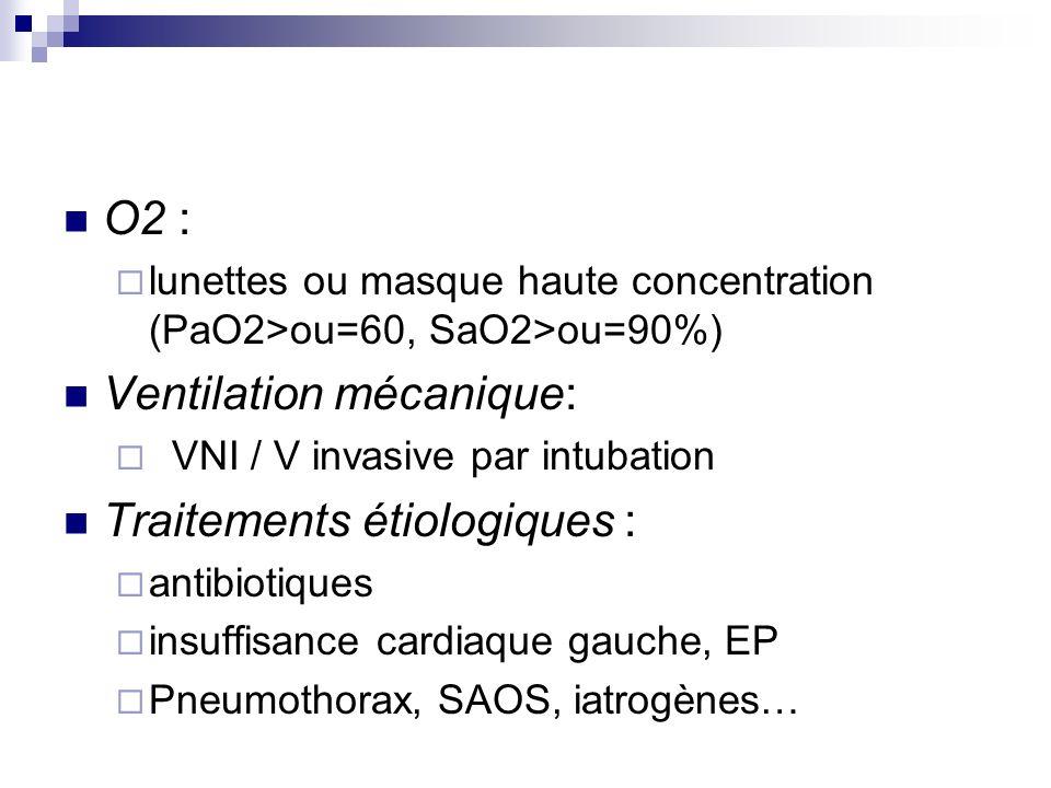 O2 : lunettes ou masque haute concentration (PaO2>ou=60, SaO2>ou=90%) Ventilation mécanique: VNI / V invasive par intubation Traitements étiologiques : antibiotiques insuffisance cardiaque gauche, EP Pneumothorax, SAOS, iatrogènes…