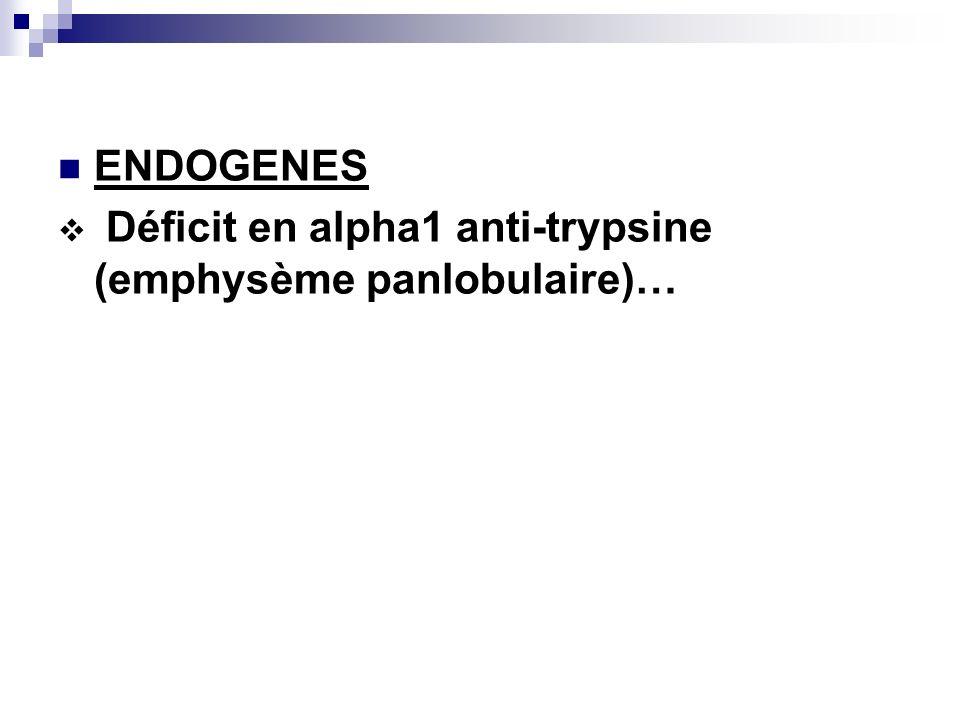 ENDOGENES Déficit en alpha1 anti-trypsine (emphysème panlobulaire)…