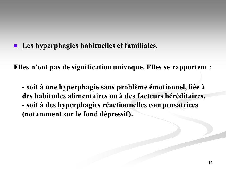 14 Les hyperphagies habituelles et familiales. Elles n'ont pas de signification univoque. Elles se rapportent : - soit à une hyperphagie sans problème
