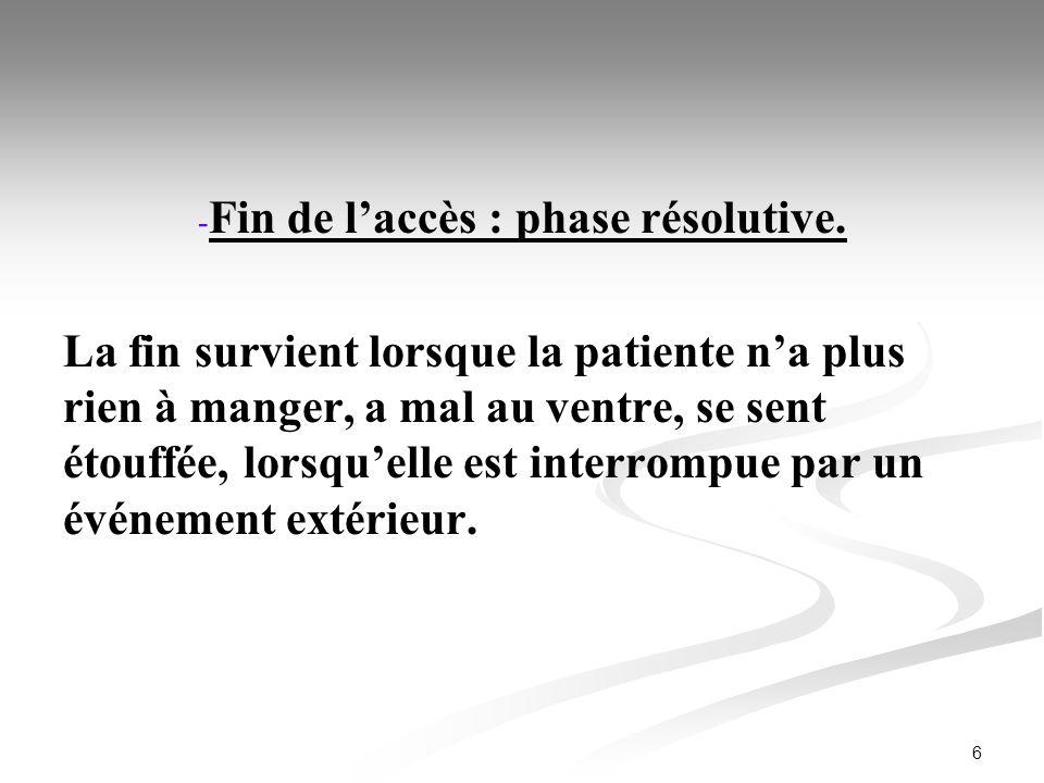 6 - - Fin de laccès : phase résolutive. La fin survient lorsque la patiente na plus rien à manger, a mal au ventre, se sent étouffée, lorsquelle est i