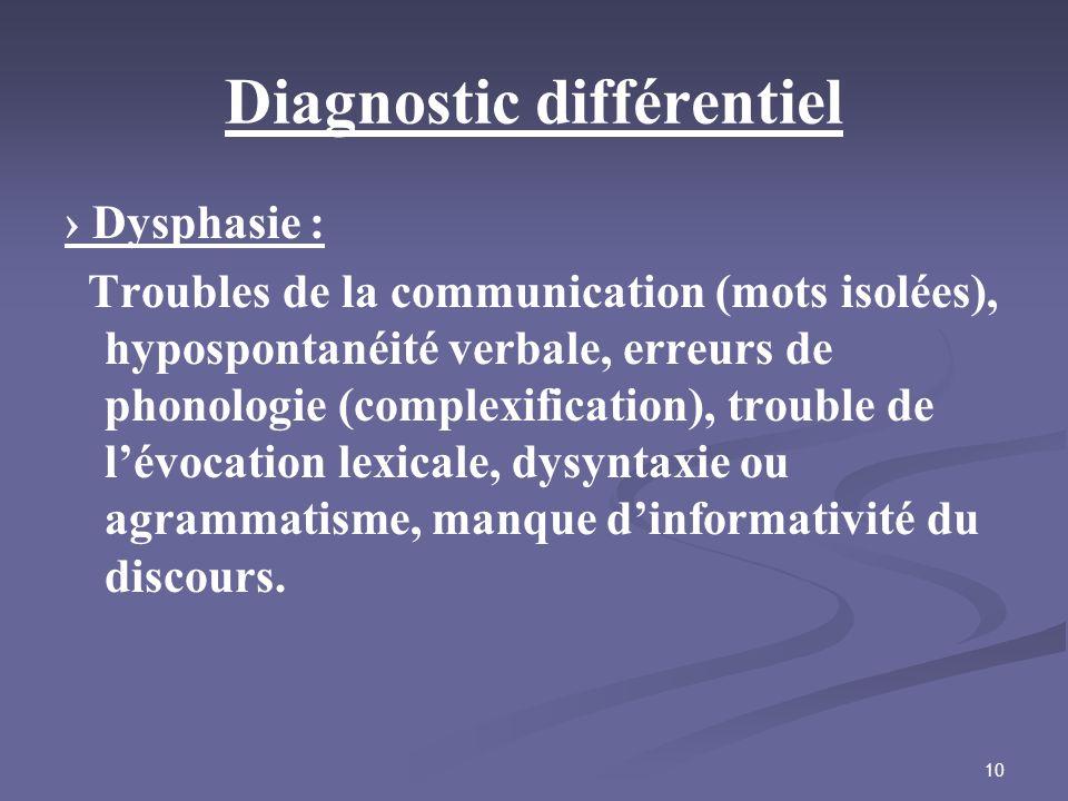 10 Diagnostic différentiel Dysphasie : Troubles de la communication (mots isolées), hypospontanéité verbale, erreurs de phonologie (complexification),
