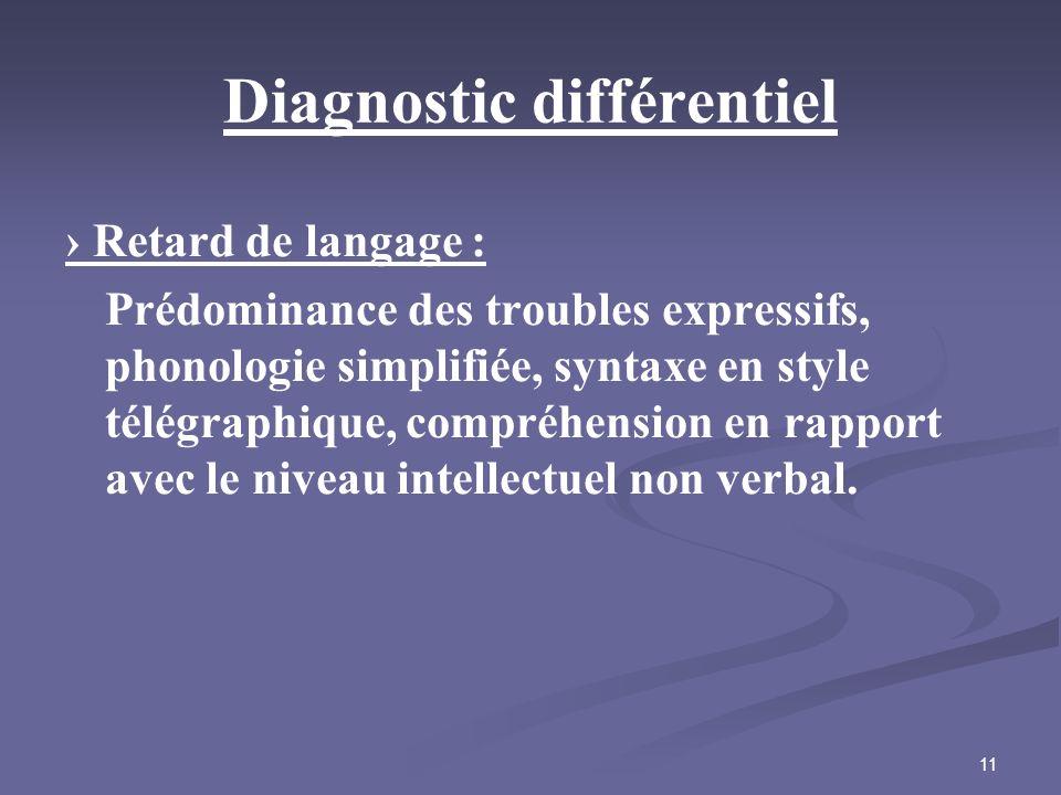 11 Diagnostic différentiel Retard de langage : Prédominance des troubles expressifs, phonologie simplifiée, syntaxe en style télégraphique, compréhens