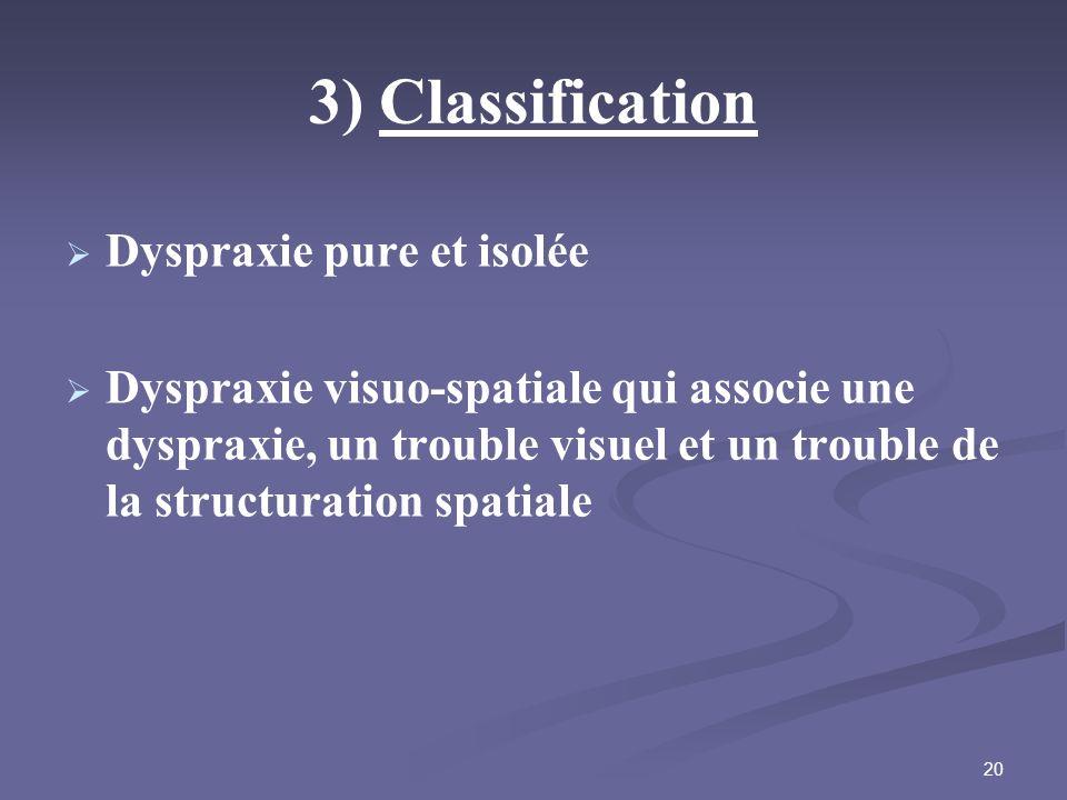20 3) Classification Dyspraxie pure et isolée Dyspraxie visuo-spatiale qui associe une dyspraxie, un trouble visuel et un trouble de la structuration