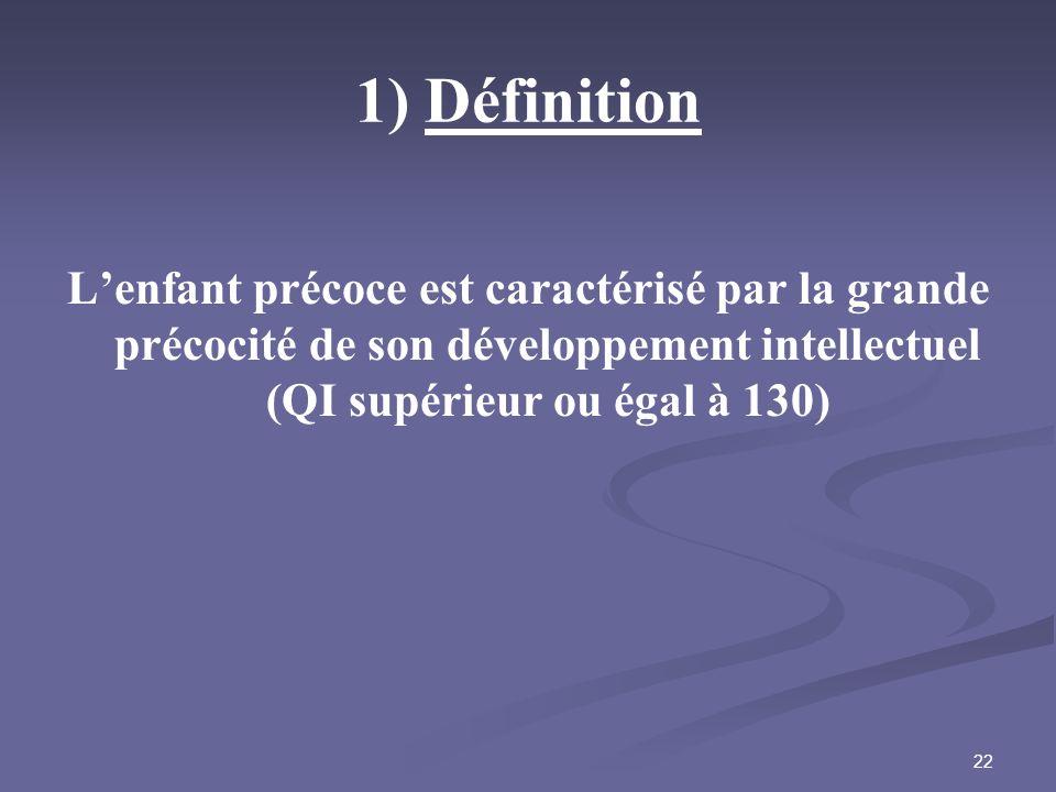 22 1) Définition Lenfant précoce est caractérisé par la grande précocité de son développement intellectuel (QI supérieur ou égal à 130)