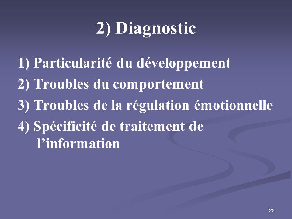 23 2) Diagnostic 1) Particularité du développement 2) Troubles du comportement 3) Troubles de la régulation émotionnelle 4) Spécificité de traitement