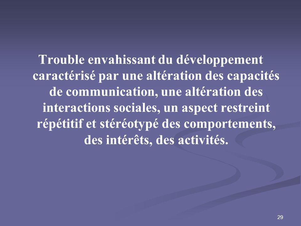 29 Trouble envahissant du développement caractérisé par une altération des capacités de communication, une altération des interactions sociales, un as