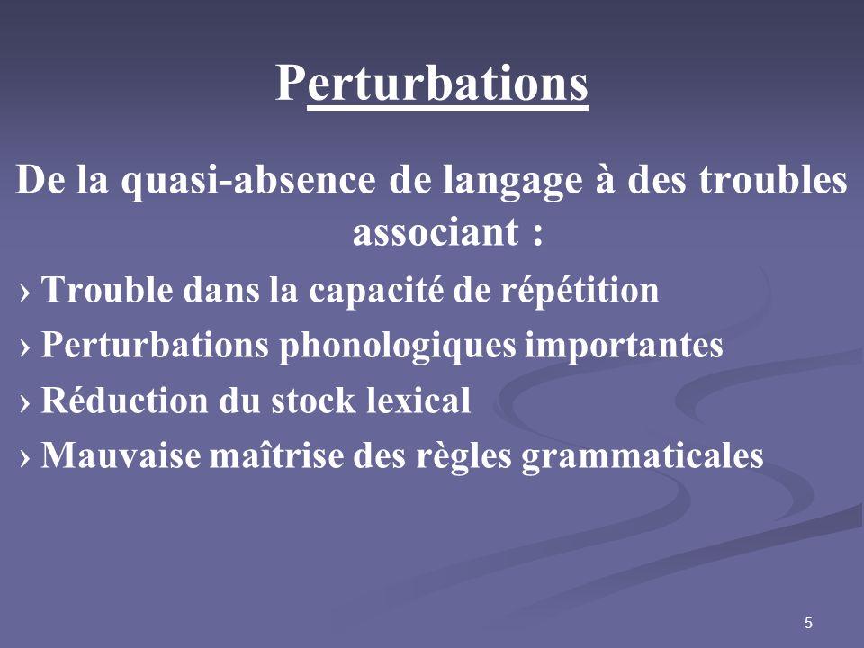 5 Perturbations De la quasi-absence de langage à des troubles associant : Trouble dans la capacité de répétition Perturbations phonologiques important