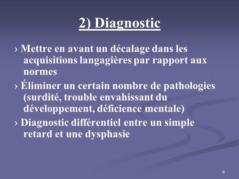 6 2) Diagnostic Mettre en avant un décalage dans les acquisitions langagières par rapport aux normes Éliminer un certain nombre de pathologies (surdit