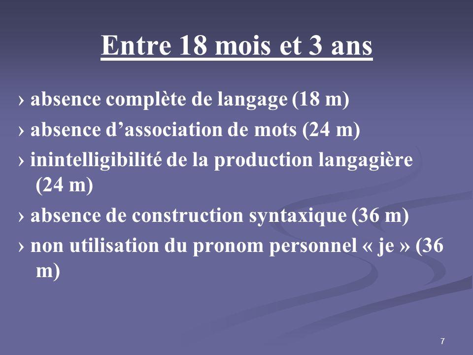 7 Entre 18 mois et 3 ans absence complète de langage (18 m) absence dassociation de mots (24 m) inintelligibilité de la production langagière (24 m) a