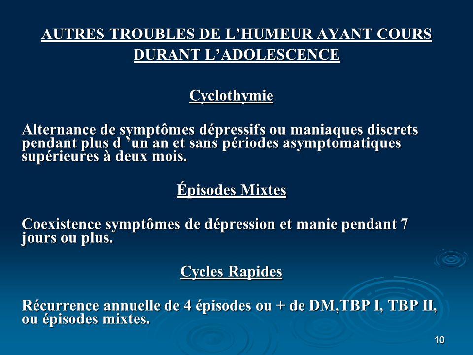 10 AUTRES TROUBLES DE LHUMEUR AYANT COURS DURANT LADOLESCENCE Cyclothymie Alternance de symptômes dépressifs ou maniaques discrets pendant plus d un a