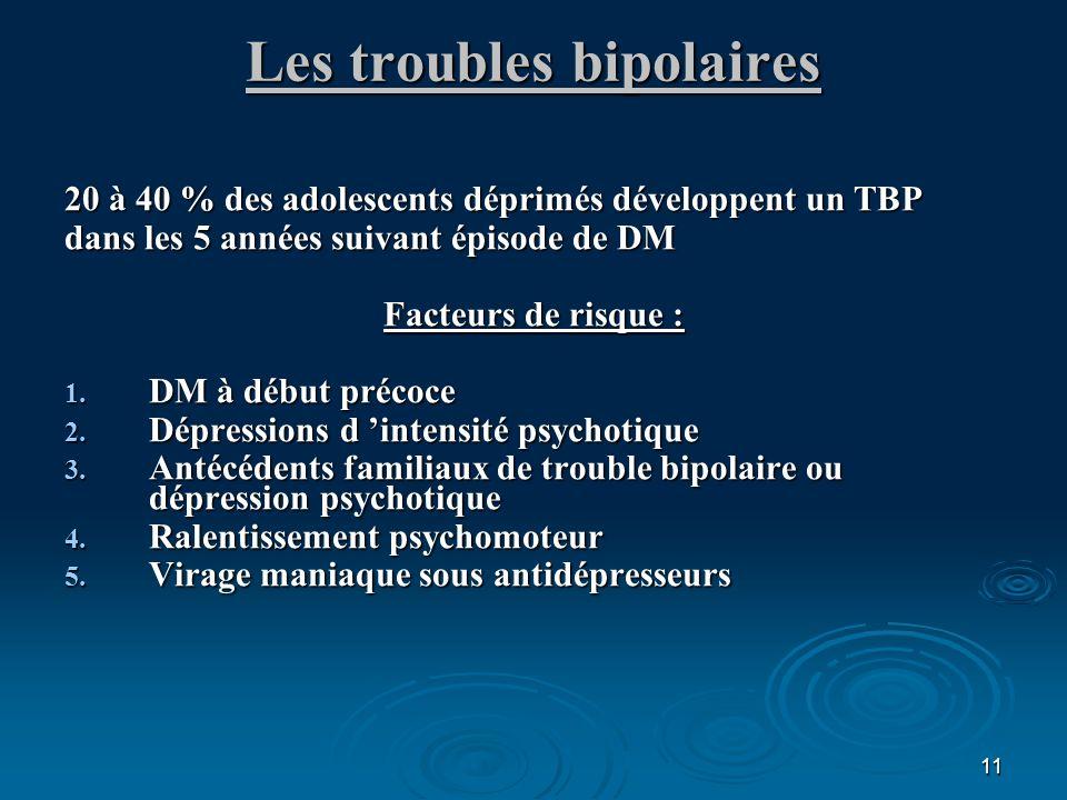 11 Les troubles bipolaires 20 à 40 % des adolescents déprimés développent un TBP dans les 5 années suivant épisode de DM Facteurs de risque : 1. DM à