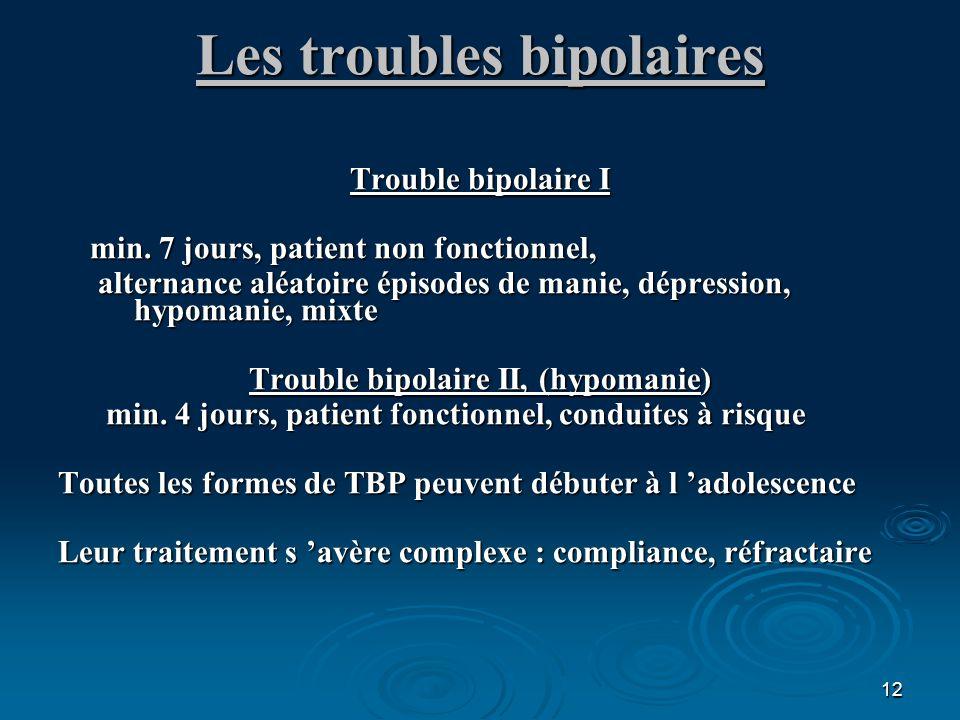 12 Les troubles bipolaires Trouble bipolaire I min. 7 jours, patient non fonctionnel, min. 7 jours, patient non fonctionnel, alternance aléatoire épis