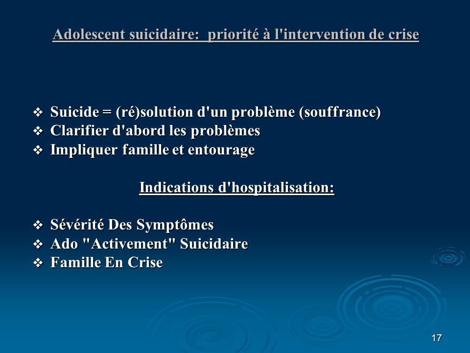 17 Adolescent suicidaire: priorité à l'intervention de crise Suicide = (ré)solution d'un problème (souffrance) Suicide = (ré)solution d'un problème (s
