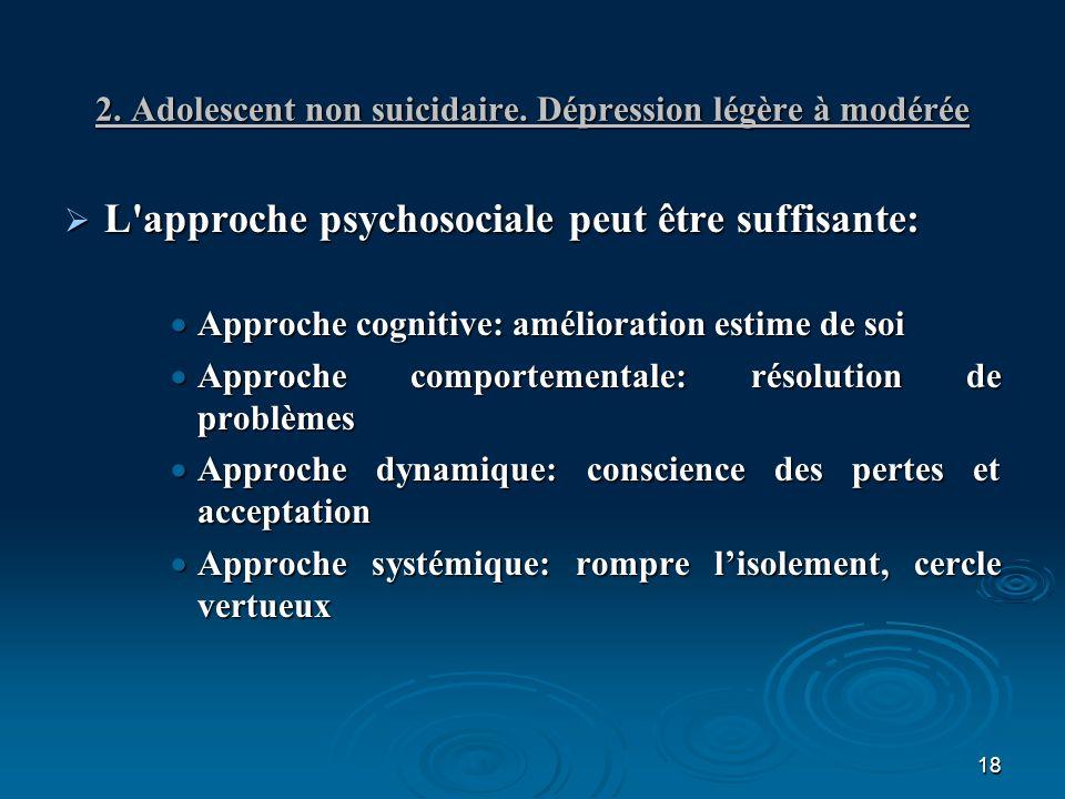 18 2. Adolescent non suicidaire. Dépression légère à modérée L'approche psychosociale peut être suffisante: L'approche psychosociale peut être suffisa