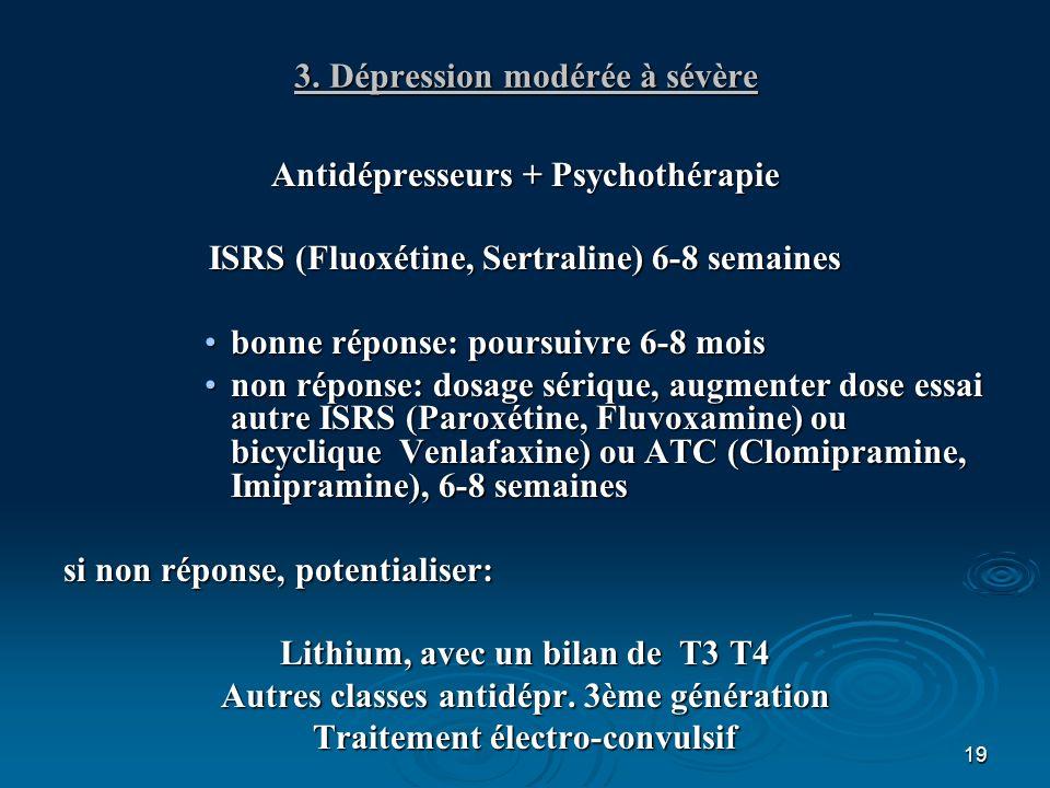 19 3. Dépression modérée à sévère Antidépresseurs + Psychothérapie ISRS (Fluoxétine, Sertraline) 6-8 semaines bonne réponse: poursuivre 6-8 moisbonne