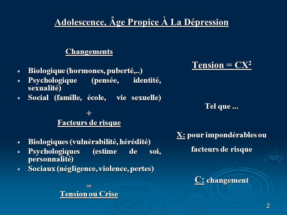 2 Adolescence, Âge Propice À La Dépression Changements Biologique (hormones, puberté,..) Biologique (hormones, puberté,..) Psychologique (pensée, iden