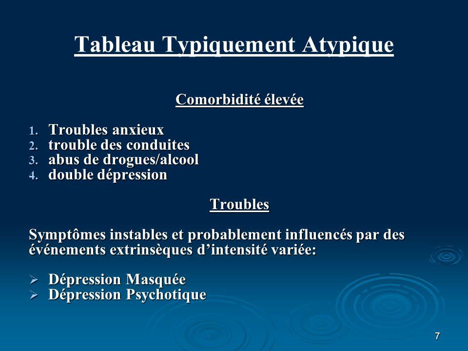 7 Tableau Typiquement Atypique Comorbidité élevée 1. Troubles anxieux 2. trouble des conduites 3. abus de drogues/alcool 4. double dépression Troubles
