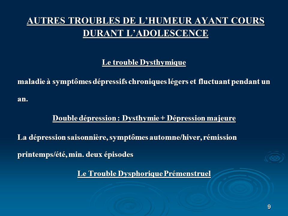 10 AUTRES TROUBLES DE LHUMEUR AYANT COURS DURANT LADOLESCENCE Cyclothymie Alternance de symptômes dépressifs ou maniaques discrets pendant plus d un an et sans périodes asymptomatiques supérieures à deux mois.