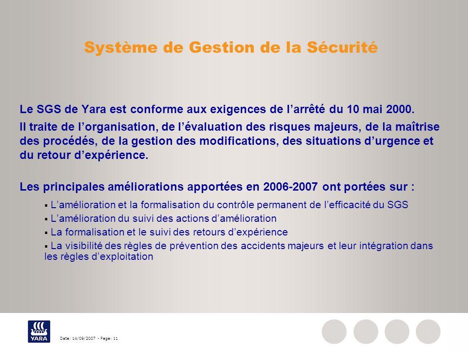 Date: 14/09/2007 - Page: 11 Système de Gestion de la Sécurité Le SGS de Yara est conforme aux exigences de larrêté du 10 mai 2000. Il traite de lorgan