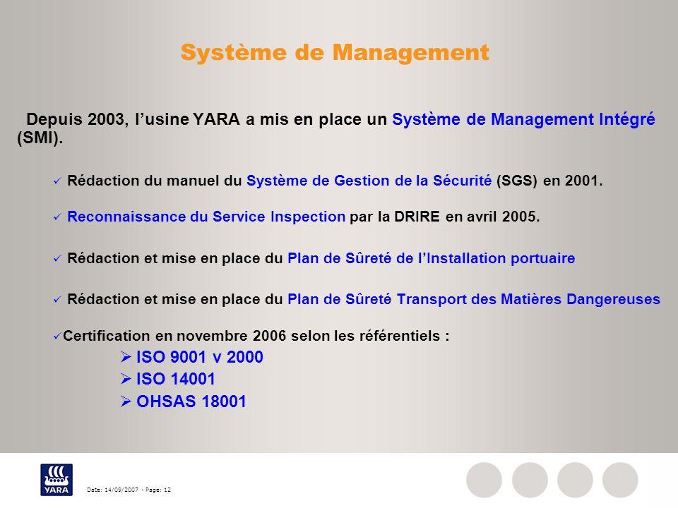 Date: 14/09/2007 - Page: 12 Système de Management Depuis 2003, lusine YARA a mis en place un Système de Management Intégré (SMI). Rédaction du manuel