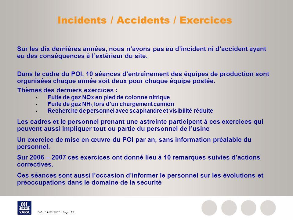 Date: 14/09/2007 - Page: 13 Incidents / Accidents / Exercices Sur les dix dernières années, nous navons pas eu dincident ni daccident ayant eu des con
