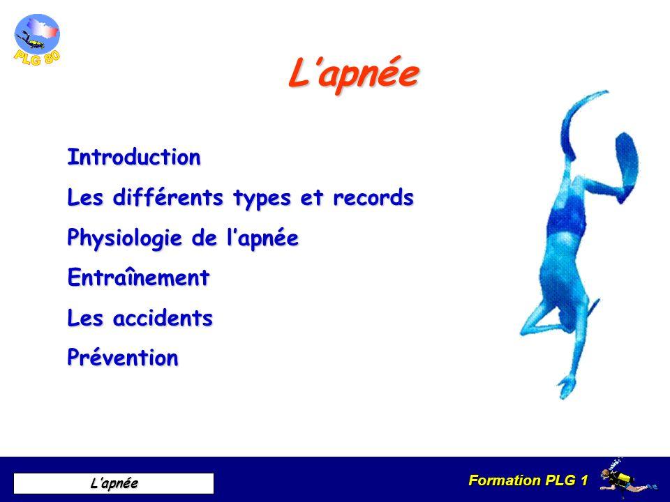 Formation PLG 1 Lapnée Lapnée Introduction Les différents types et records Physiologie de lapnée Entraînement Les accidents Prévention