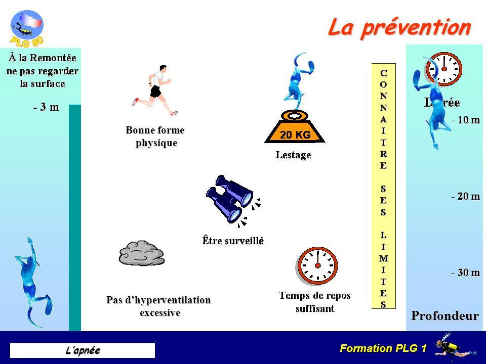 Formation PLG 1 Lapnée La prévention Pas dhyperventilation excessive Profondeur Bonne forme physique