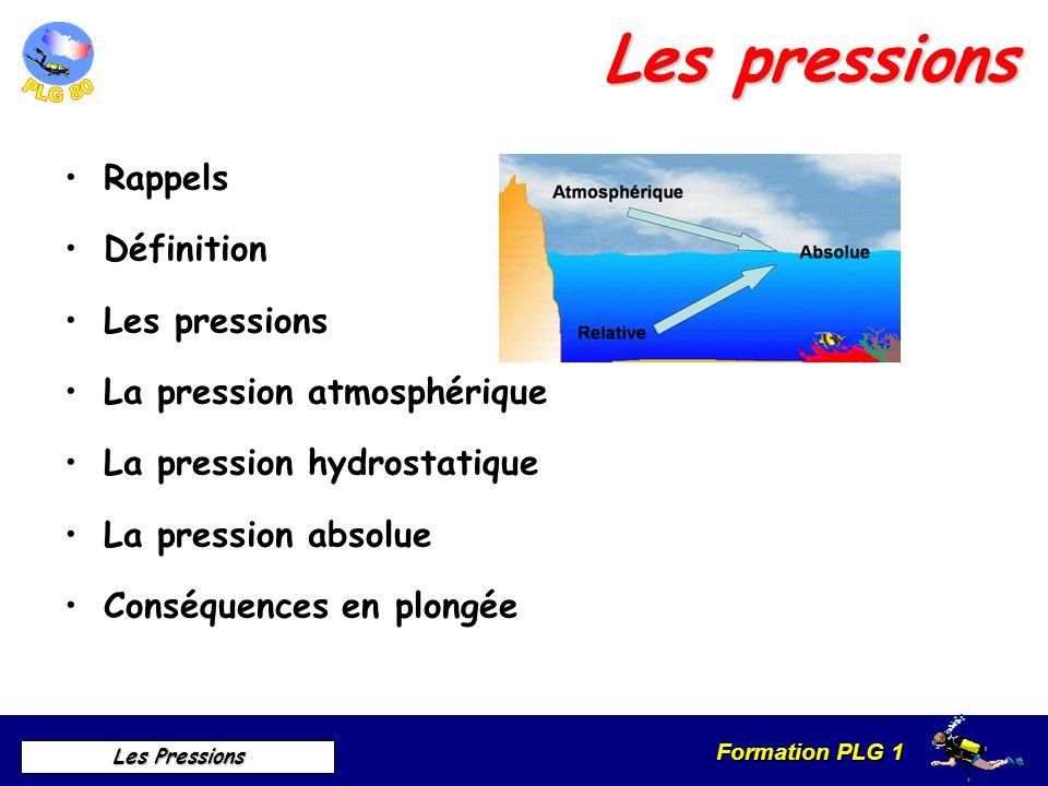 Formation PLG 1 Les Pressions Les pressions Rappels Définition Les pressions La pression atmosphérique La pression hydrostatique La pression absolue C