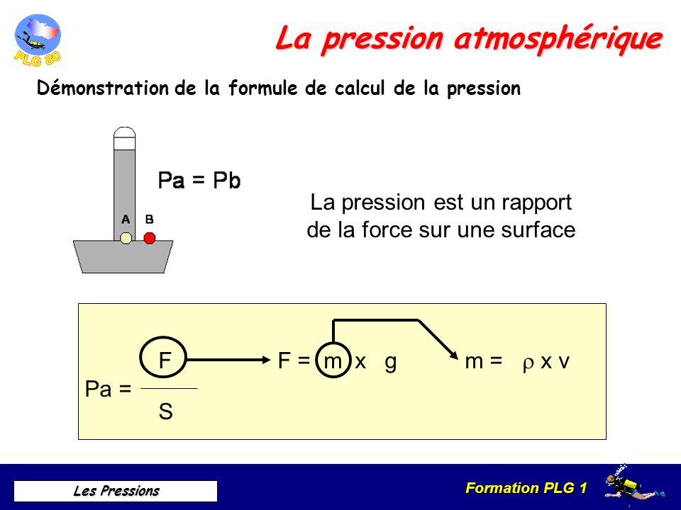 Formation PLG 1 Les Pressions La pression atmosphérique Démonstration de la formule de calcul de la pression La pression est un rapport de la force su
