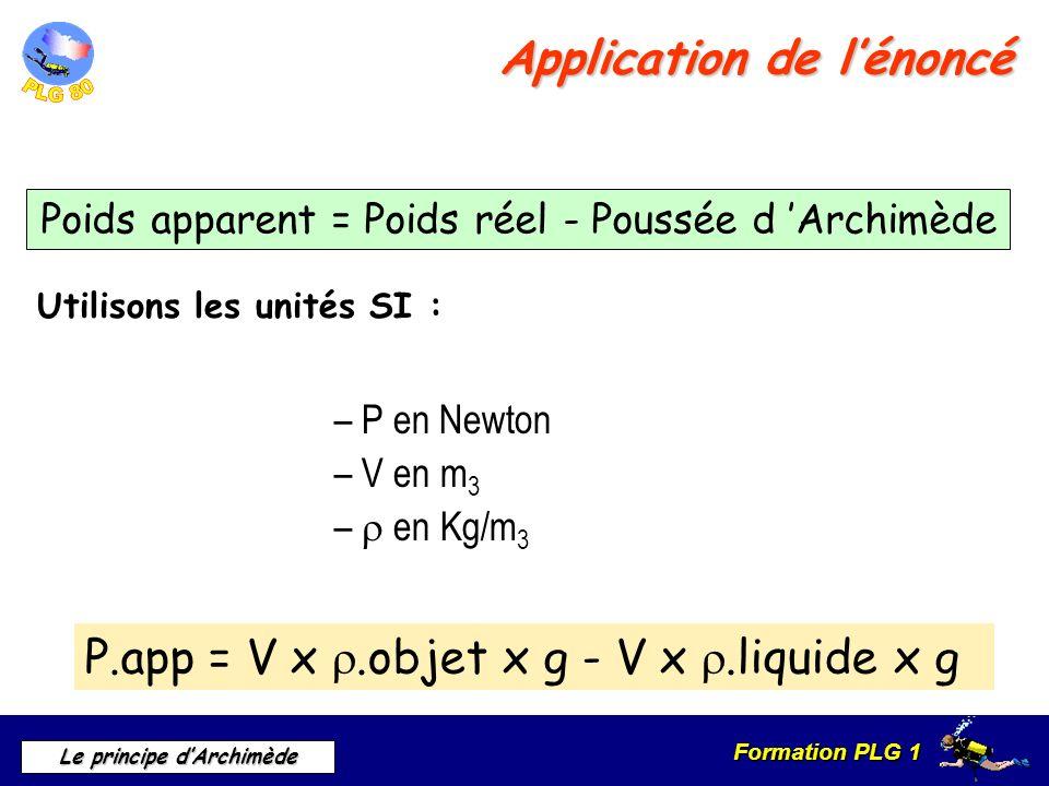Formation PLG 1 Le principe dArchimède Application de lénoncé Utilisons les unités SI : – P en Newton – V en m 3 – en Kg/m 3 P.app = V x.objet x g - V