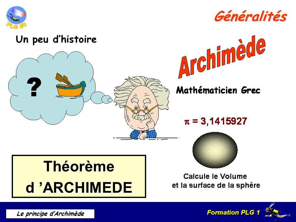 Formation PLG 1 Le principe dArchimède Généralités Un peu dhistoire Théorèmed ARCHIMEDE