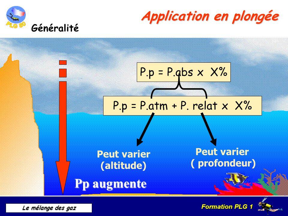 Formation PLG 1 Le mélange des gaz Application en plongée Exemple 0,2 bars d O² 20% 0,8 bars de N² 80% 0,4 bars d O² 20% 1,6 bars de N² 80% 0,6 bars d O² 20% 2,4 bars de N² 80% 10 m 20 m