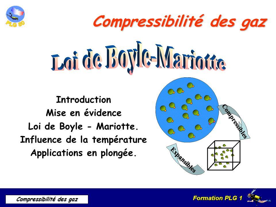 Formation PLG 1 Compressibilité des gaz Compressibilité des gaz Introduction Mise en évidence Loi de Boyle - Mariotte. Influence de la température App