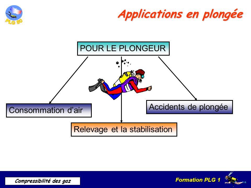 Formation PLG 1 Compressibilité des gaz Relevage et la stabilisation Applications en plongée POUR LE PLONGEUR Consommation dair Accidents de plongée