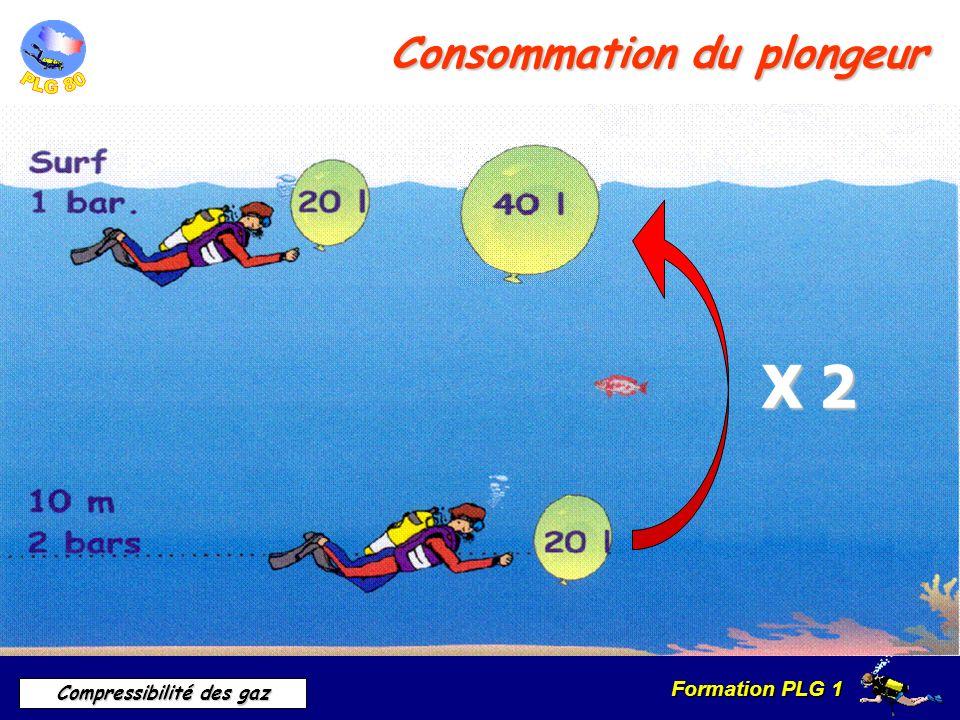 Formation PLG 1 Compressibilité des gaz Consommation du plongeur X 2