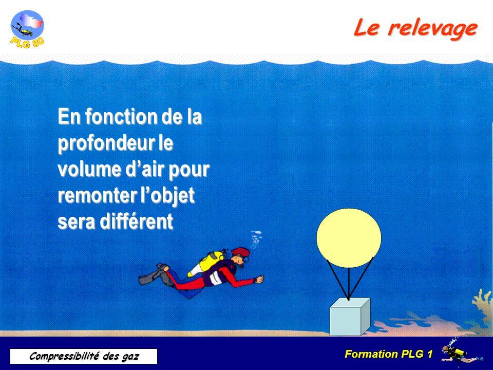 Formation PLG 1 Compressibilité des gaz Le relevage En fonction de la profondeur le volume dair pour remonter lobjet sera différent