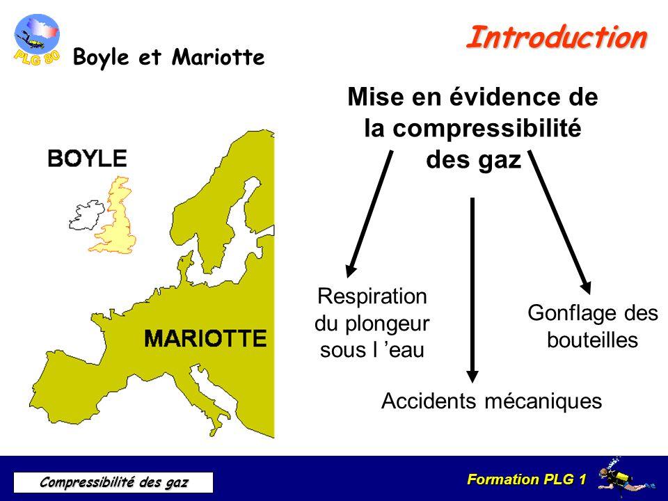 Formation PLG 1 Compressibilité des gaz Introduction Boyle et Mariotte Mise en évidence de la compressibilité des gaz Respiration du plongeur sous l e