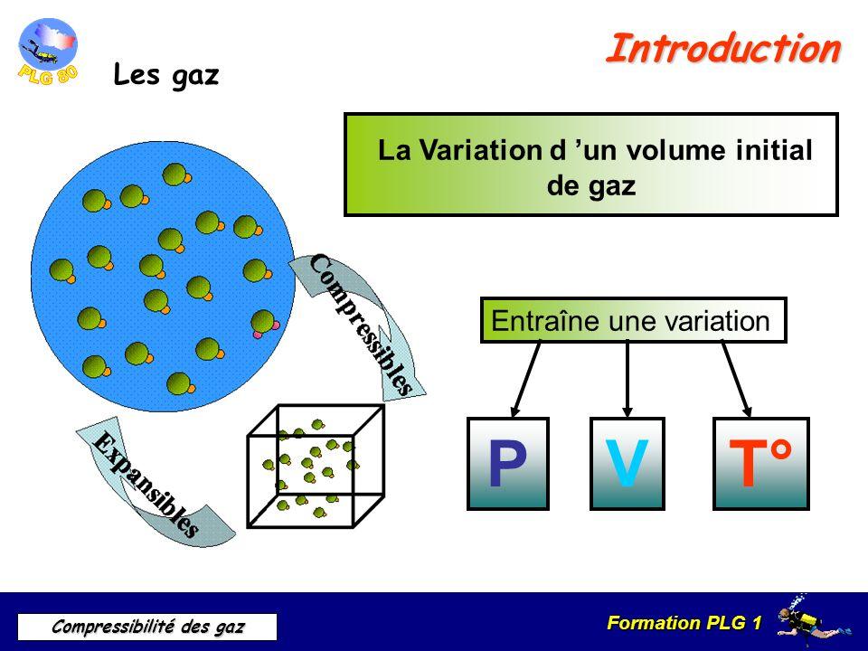 Formation PLG 1 Compressibilité des gaz Introduction Les gaz La Variation d un volume initial de gaz Entraîne une variation PVT°
