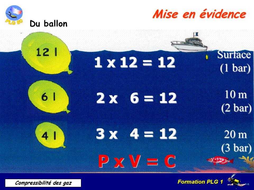 Formation PLG 1 Compressibilité des gaz Mise en évidence Du ballon P x V = CSurface (1 bar) (1 bar) 1 x 12 = 12 2 x 6 = 12 10 m 10 m (2 bar) 3 x 4 = 1