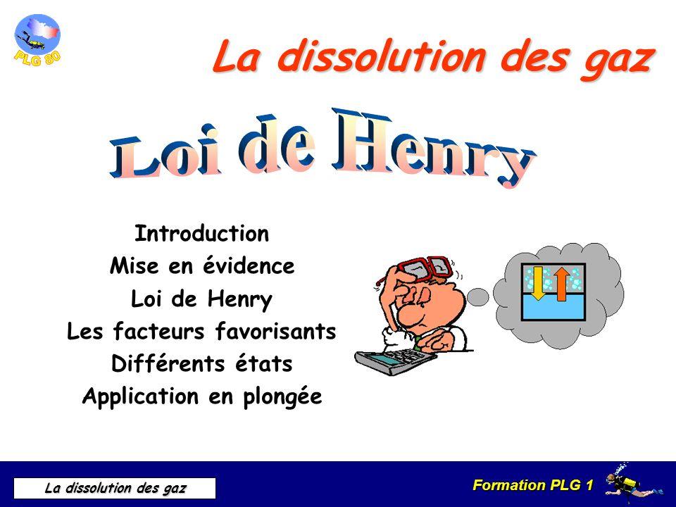 Formation PLG 1 La dissolution des gaz La dissolution des gaz Introduction Mise en évidence Loi de Henry Les facteurs favorisants Différents états App