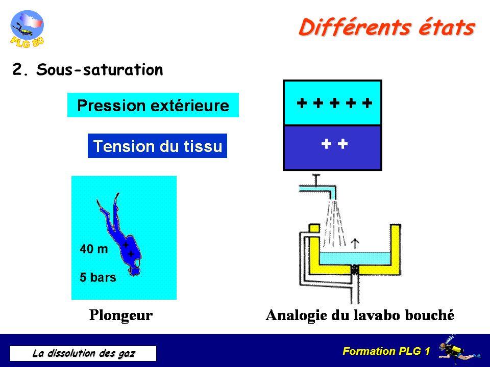 Formation PLG 1 La dissolution des gaz Différents états 2. Sous-saturation